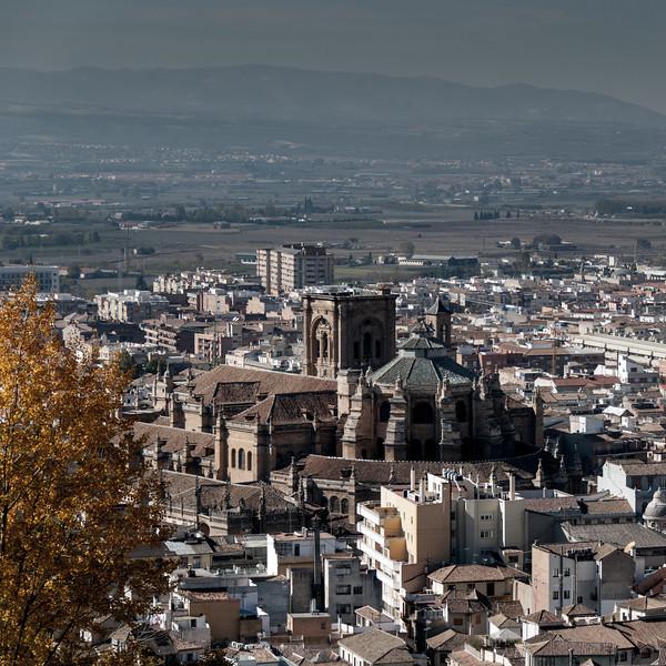 La Alhambra - View of Granada Cathedral