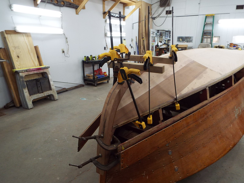 Starboard view of the bow piece clamped in place.