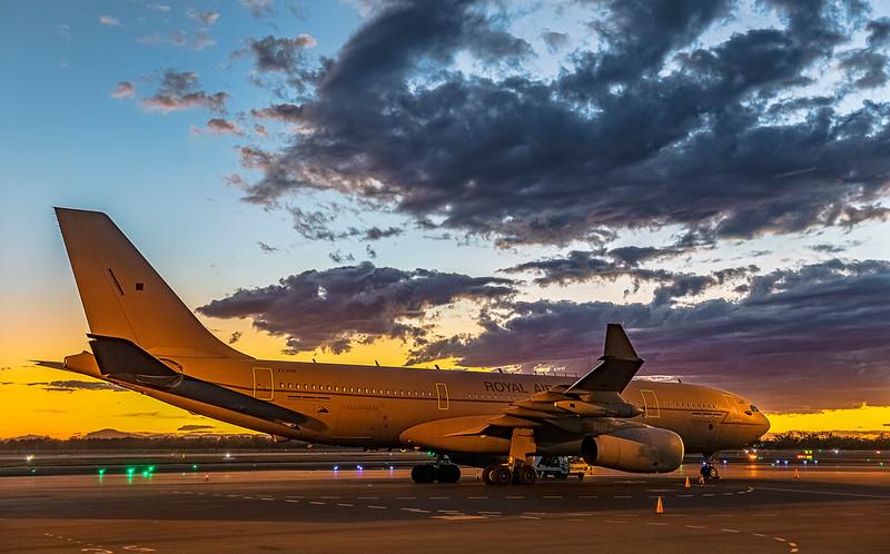 Royal Air Force Airbus KC2 Voyager A330-243MRTT ZZ338 at Rockhampton Airport at sunset 29-05-2019