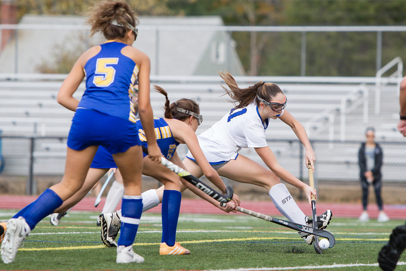 Southington's Jenna Sheehan gets a shot off Monday during a qualifying round in Class L of the CIAC Tournament at Fontana Field in Southington November 6, 2017 | Justin Weekes / For the Record-Journal