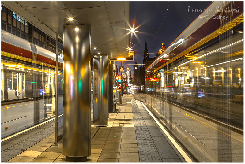 Princes Street tram stop, early morning