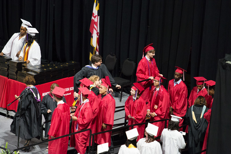 In line for his diploma, Noah receives a congratulatory hug from English teacher and drama director Mrs Kelly O'Connor -- Noah Friedlander - June 6, 2017 graduation from Montgomery Blair High School - Magnet Program for Math, Science, and Computer Science, Xfinity Center, University of Maryland, College Park.