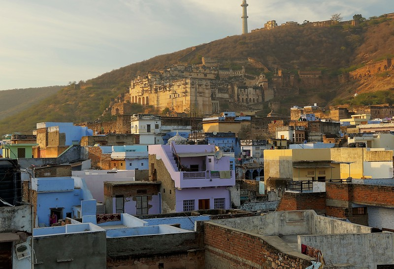 Sunset view of Bundi Palace from our hotel
