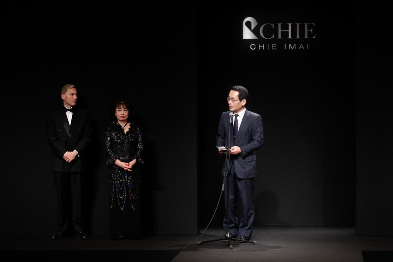 On April 12, 2011, we participated in the Royal Chie Charity Event in Tokyo. At the event I helped Chie Imai hand over a donation to the Government of Miyagi Prefecture. I my speech I underlined the need to keep Japanese businesses running to help bring the economy back and rebuild the nation. I also commended Chie Imai for not cancelling her yearly fashion show.