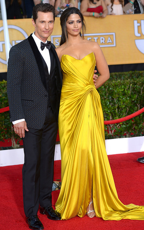 . Matthew McConaughey and guest arrives at the 20th Annual Screen Actors Guild Awards  at the Shrine Auditorium in Los Angeles, California on Saturday January 18, 2014 (Photo by Michael Owen Baker / Los Angeles Daily News)