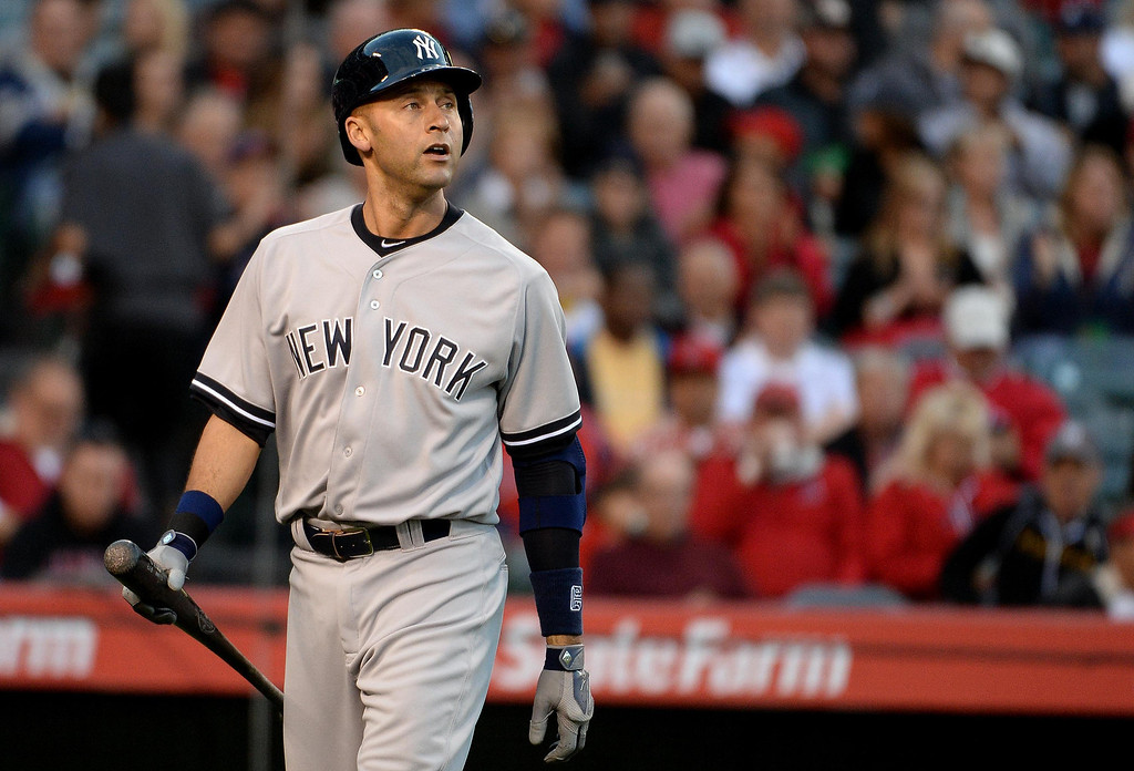 . New York Yankees\' Derek Jeter looks toward the scoreboard after striking out swinging in the first inning of a baseball game against the Los Angeles Angels at Anaheim Stadium in Anaheim, Calif., on Tuesday, May 6, 2014.  (Keith Birmingham Pasadena Star-News)