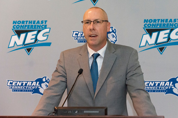 10/17/19 Wesley Bunnell | StaffrrRyan McCarthy was officially named head football coach by CCSU during a press conference on Thursday afternoon. Coach McCarthy speaks to the audience.