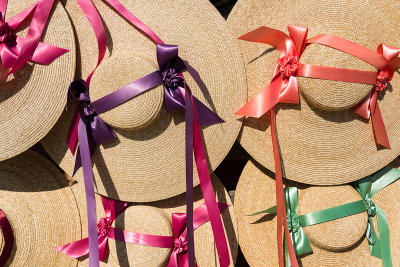 Colonial Style Women's Straw Hats with Colorful Ribbon