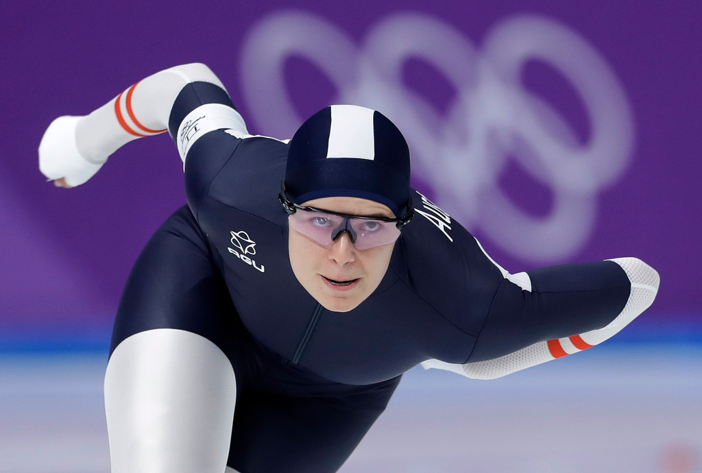. Fourth place Vanessa Herzog of Austria competes during the women\'s 500 meters speedskating race at the Gangneung Oval at the 2018 Winter Olympics in Gangneung, South Korea, Sunday, Feb. 18, 2018. (AP Photo/Petr David Josek)