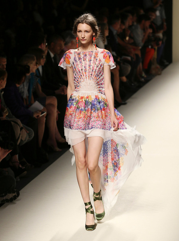 . A model wears a creation for Alberta Ferretti women\'s Spring-Summer 2014 collection, part of the Milan Fashion Week, unveiled in Milan, Italy, Wednesday, Sept. 18, 2013. (AP Photo/Antonio Calanni)
