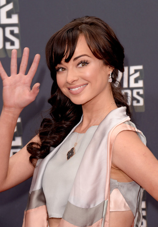 . Actress Ashley Rickards arrives at the 2013 MTV Movie Awards at Sony Pictures Studios on April 14, 2013 in Culver City, California.  (Photo by Jason Merritt/Getty Images)