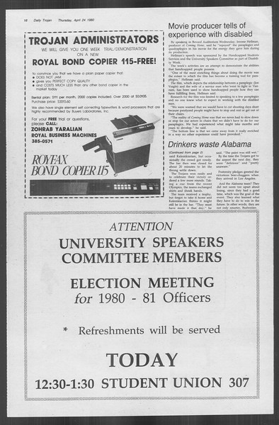 Daily Trojan, Vol. 88, No. 51, April 24, 1980