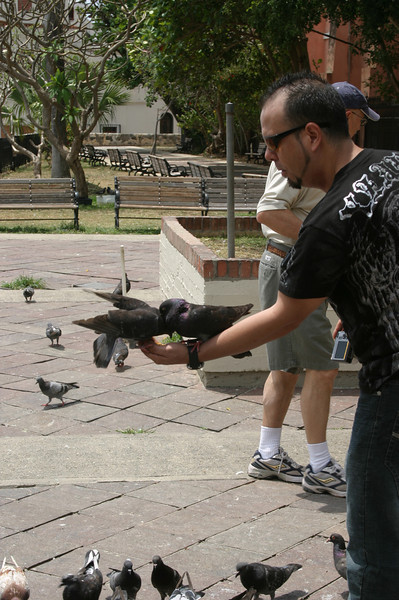 Hand feeding the pigeons was a popular thing to do here.