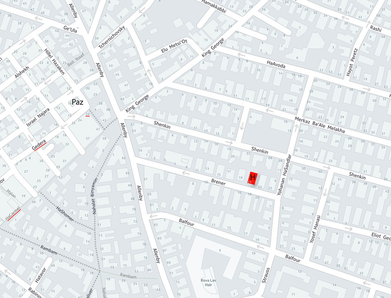 My hotel, HaCarmel (market), Gedera St, and 26 (Gedera) are marked in red on the map.
