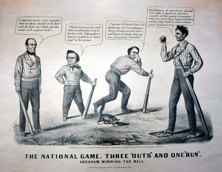 Abe Lincoln and the National Game artwork in the National Baseball Hall of Fame & Museum