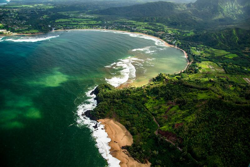 Aerial view of Hanalei Bay, Kauai. Hawaii