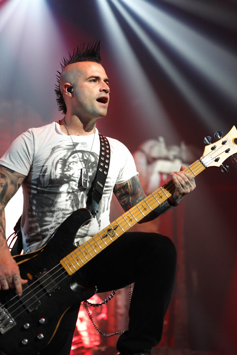 . Johnny Christ of Avenged Sevenfold at Joe Louis Arena. Photo by Ken Settle