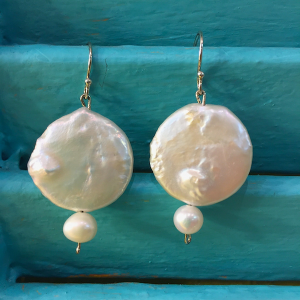 JANIS FLOWERS Double White Pearl Earrings