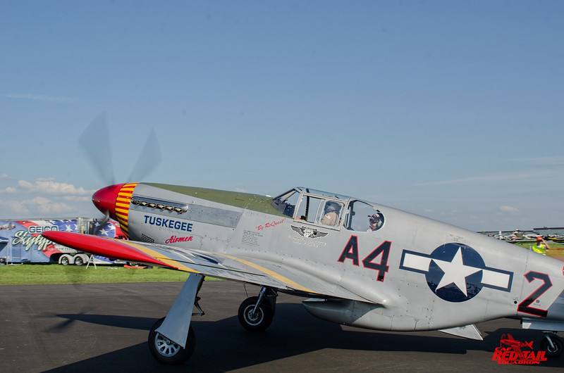 First Mustang mission in 69 years.  Lt. Col. George Hardy sets off with Doug Rozendaal in the CAF Red Tail Squadron P-51C