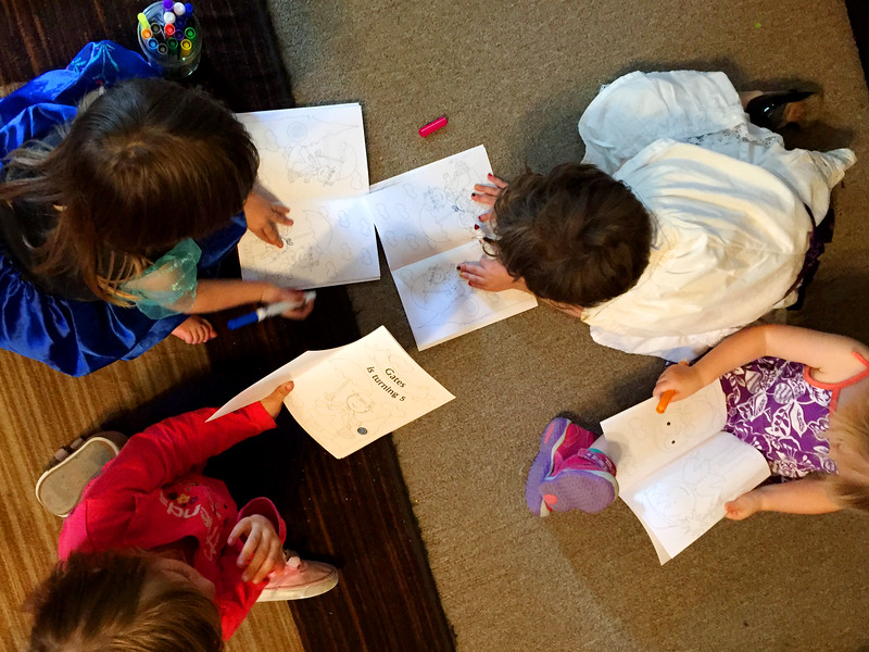 All the children pause to color at Gates' 5th Birthday Party