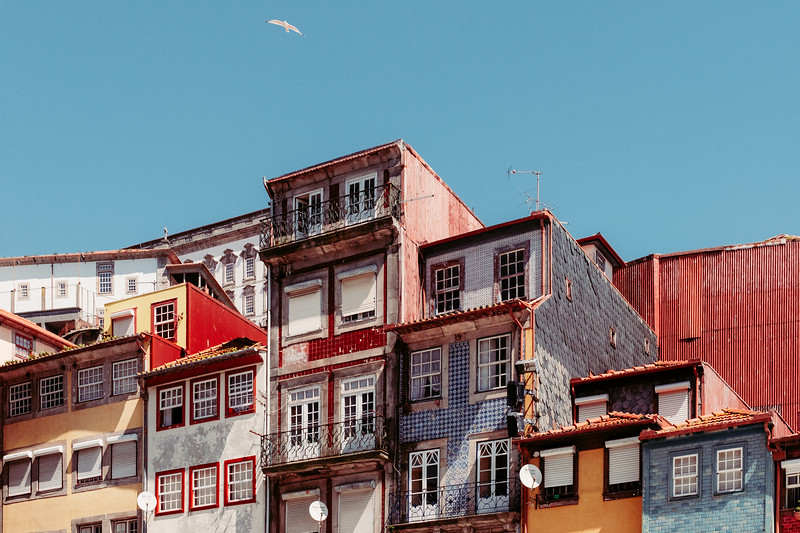 Buildings around the Port of Ribeira Square in Porto