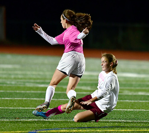 11/5/2019 Mike Orazzi | StaffrBristol Central's Ashlee Crumrine (2) and Eastern's Cecelia Gilbert (15) during girls soccer at BC Tuesday night.