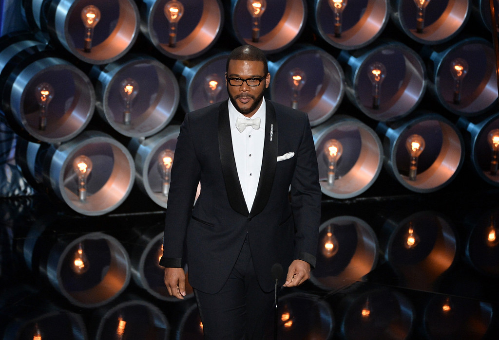 . Actor/director Tyler Perry speaks onstage during the Oscars at the Dolby Theatre on March 2, 2014 in Hollywood, California.  (Photo by Kevin Winter/Getty Images)