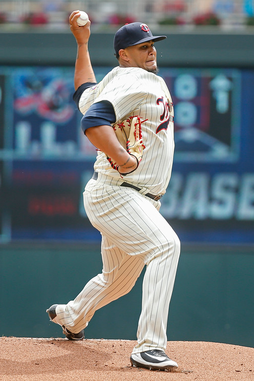 . Minnesota Twins starting pitcher Adalberto Mejia throws to the Cleveland Indians in the first inning of a baseball game Wednesday, Aug. 1, 2018, in Minneapolis. (AP Photo/Bruce Kluckhohn)