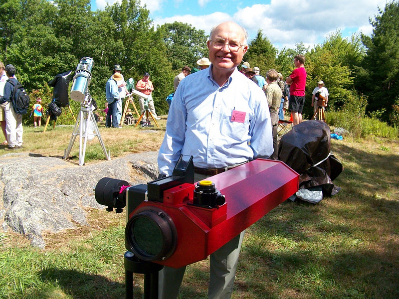 Thomas A Lumenello of Westford Mass and his 5 inch folded F-15 refractor. Uses a D & G Lens.