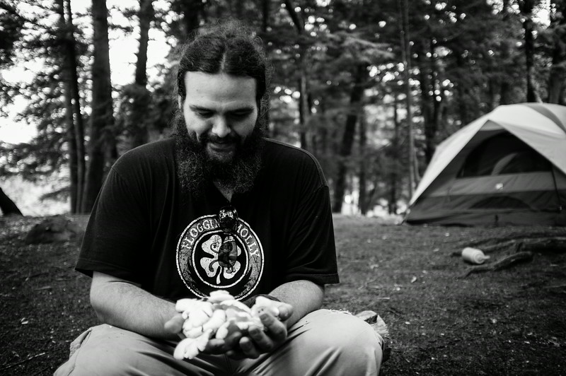 Tsavo with his foraged Oyster 'shrooms.