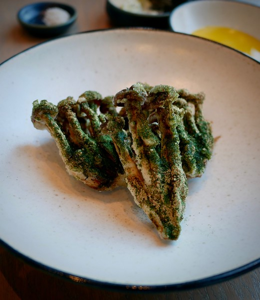 108: brown beech mushrooms with smoked egg yolk