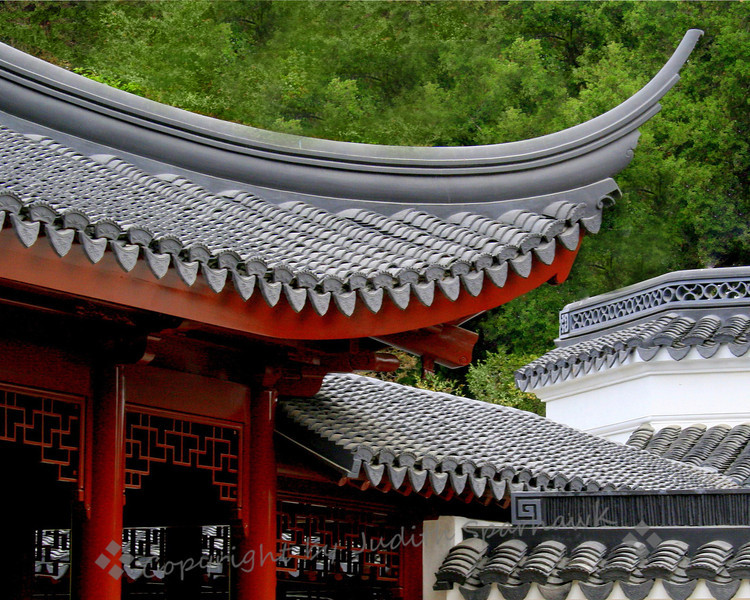 Angles and Patterns ~ Roof details in Chinese Garden, Huntington Library Gardens, San Marino, CA