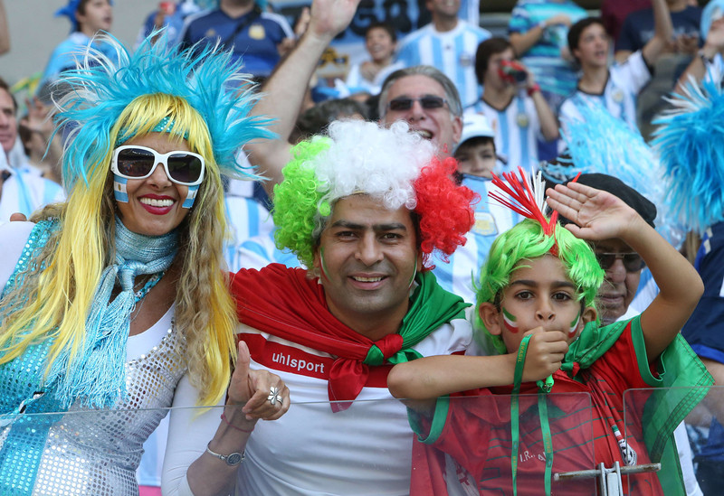 . Fans cheers prior to the Group F football match between Argentina and Iran at the Mineirao Stadium in Belo Horizonte during the 2014 FIFA World Cup in Brazil on June 21, 2014. (BEHROUZ MEHRI/AFP/Getty Images)