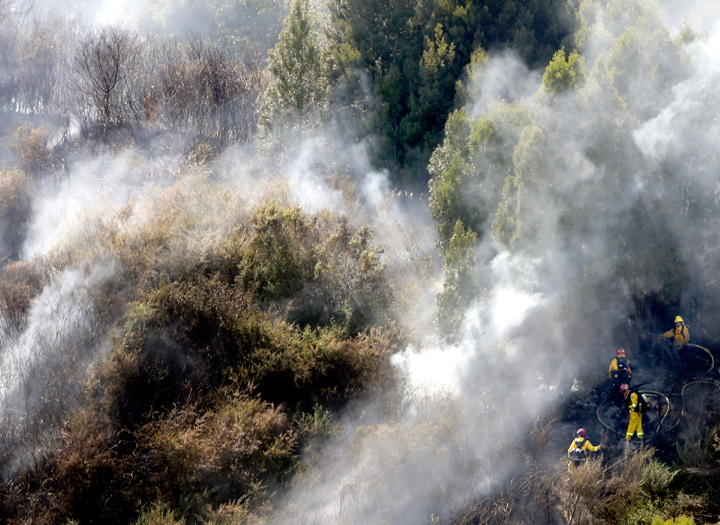 . Emergency responders trek uphill amidst a plume of smoke along southbound Highway 17 near the Fishhook in Santa Cruz on Thursday, June 20 as they battle a wildfire that ignited shortly after 3pm. (Kevin Johnson/Sentinel)