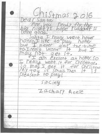 Fourth grade Letters to Santa, 12/16/2016