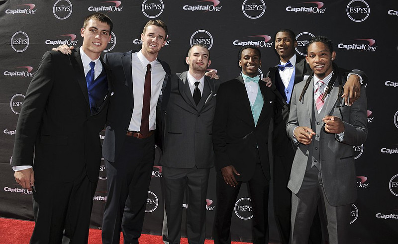 . Members of the Florida Gulf Coast University basketball team arrive at the ESPY Awards on Wednesday, July 17, 2013, at Nokia Theater in Los Angeles. (Photo by Jordan Strauss/Invision/AP)