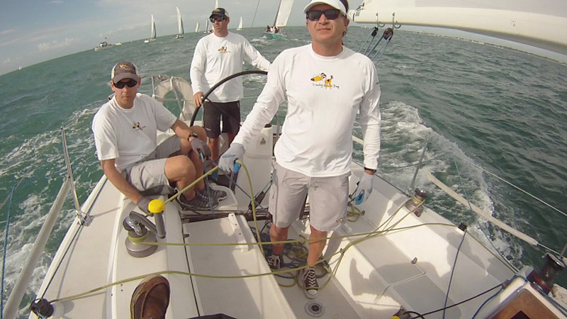 During Race 2 at the back of the boat Rob, Travis and John