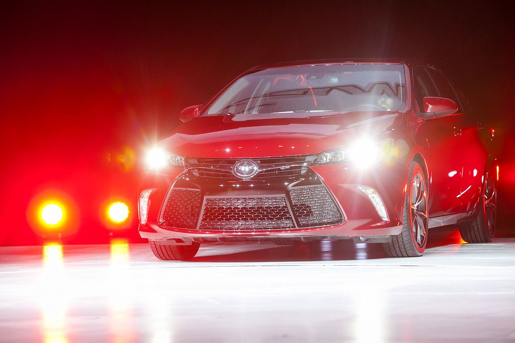 . The new 2015 Camry is unveiled during a media preview of the 2014 New York International Auto Show April 16, 2014 in New York City. The show opens with a sneak preview to the public April 18 and runs through April 27.  (Photo by Eric Thayer/Getty Images)