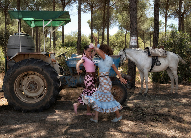 women dancing flamenco,truckter,rocio,andalucia,spain.jpg