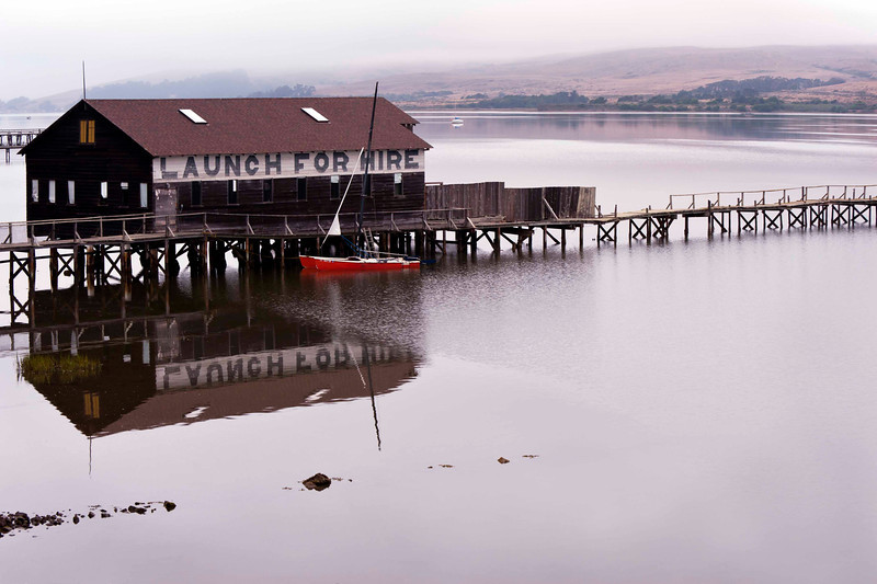 Challenged to find a safe place to shoot this one - love the color splash of the boat.  Tomales Bay, near Inverness.