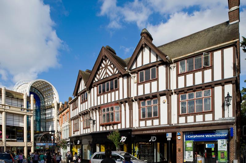 Tudor style architecture on Church Street, Kingston upon Thames, Surrey, United KIngdom