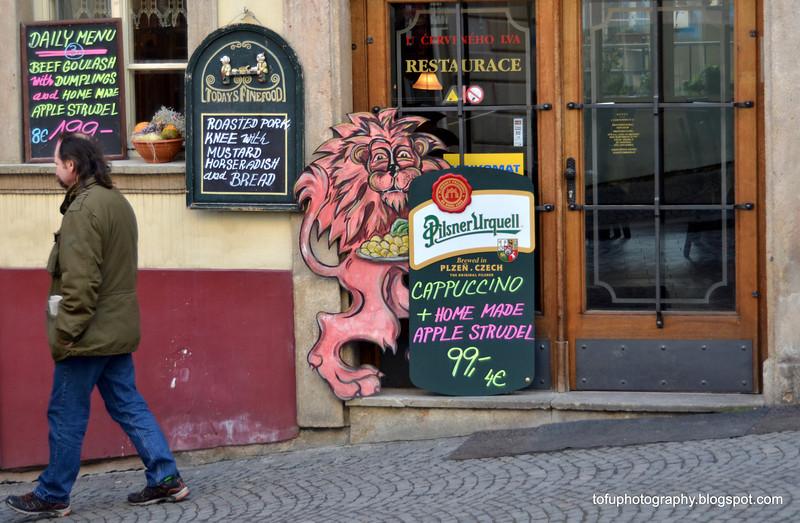 Restaurant in Prague, Czech Republic, in February 2014. Cappuccino and apple strudel