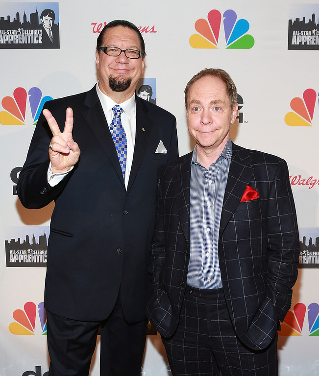 """. Penn Jillette (L) and Teller attend \""""All Star Celebrity Apprentice\"""" Finale at Cipriani 42nd Street on May 19, 2013 in New York City.  (Photo by Robin Marchant/Getty Images)"""