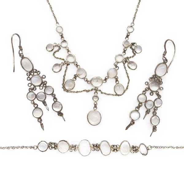 VINTAGE ART DECO SILVER MOONSTONE FESTOON NECKLACE, EARRINGS & BRACELET SET