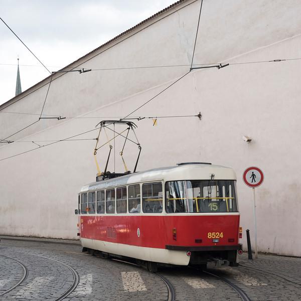 Tram moving on street, Prague, Czech Republic