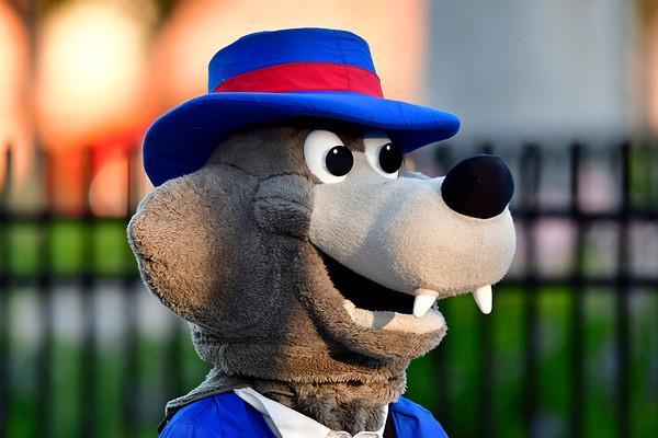 6/11/2019 Mike Orazzi | Staff Bristol Blues' mascot at Muzzy Field Tuesday night.