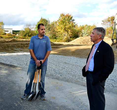 10/10/2018 Mike Orazzi | Staff Matt Laukaitis talks with Plymouth Mayor Dave Merchant at MPL Solutions in the Plymouth Industrial Park for a ground breaking on Lassy Court.
