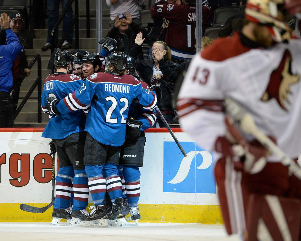 . DENVER, CO - FEBRUARY 16: Colorado Avalanche left wing Cody McLeod (55) celebrates his goal on backhand shot on Arizona Coyotes goalie Mike McKenna (43) for a goal during the first period February 16, 2015 at Pepsi Center. (Photo By John Leyba/The Denver Post)