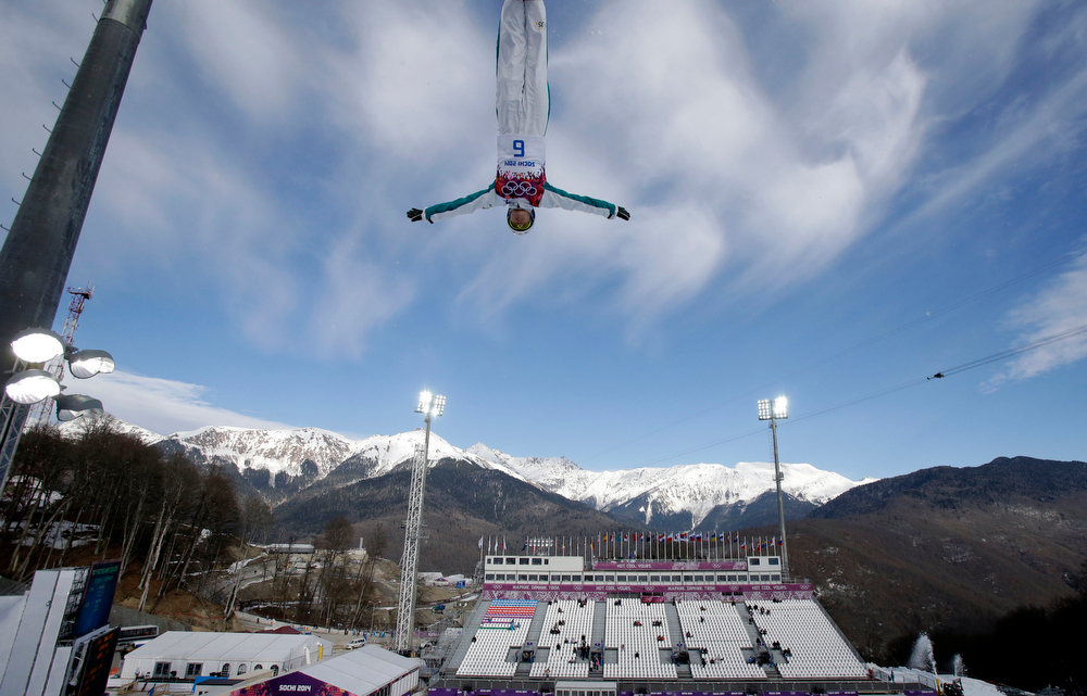 . Australia\'s Danielle Scott jumps during women\'s freestyle skiing aerials training at the Rosa Khutor Extreme Park, at the 2014 Winter Olympics, Friday, Feb. 14, 2014, in Krasnaya Polyana, Russia. (AP Photo/Greg Baker)