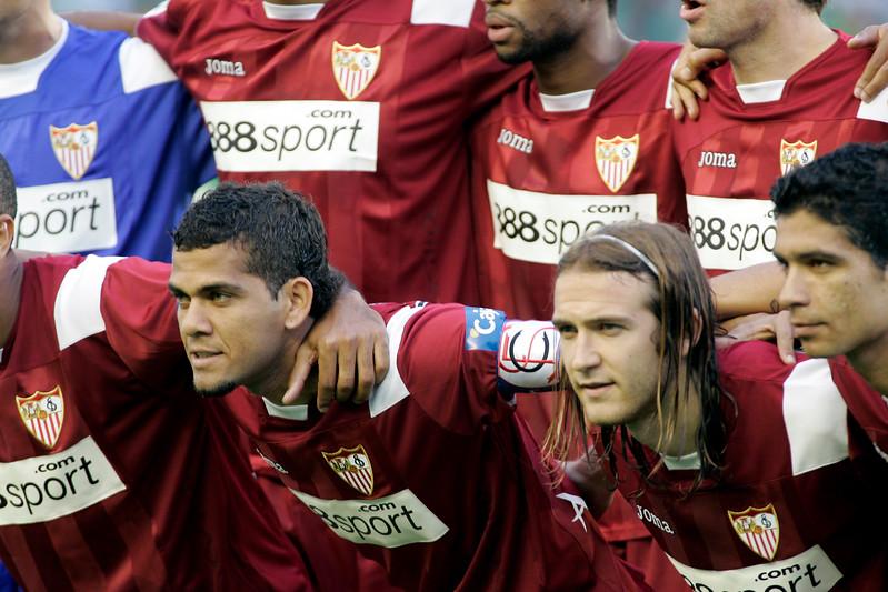 Sevilla FC squad. Left to right: Daniel Alves, Diego Capel and Renato. Local derby between Real Betis and Sevilla FC, Ruiz de Lopera stadium, Seville, Spain, 11 May 2008.
